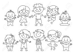 Vettoriale Bambini Allegri Dipinti Da Matite Colorate Con Elementi
