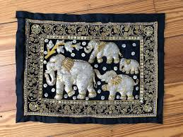 details about thai thailand 4 elephant family beaded sequin tapestry wall hanging art 23 5x18