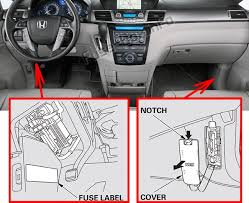 fuse box diagram > honda odyssey rl5 2011 2017 the location of the fuses in the passenger compartment honda odyssey rl5 2011