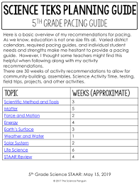 5th Grade Science Streamlined Teks Planning Guides The