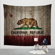 rustic california flag tapestry on barn