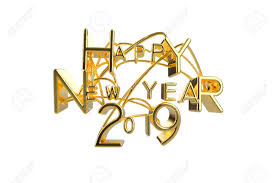 Happy New Year 2019 Christmas Elegant Golden Lettering Word With