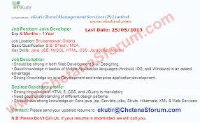 Freshers Ekutir Startup Company Off Campus Java Developers