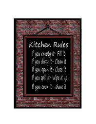 fullsize of posh sayings country vintage black yia yias ceramic bronze kitchen rules wall plaque ny