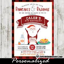 Christmas Birthday Party Invitations Pancakes And Pajamas Invitations Red Black Plaid Happy Santa