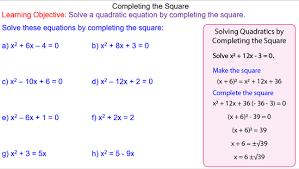 completing the square mr mathematics com