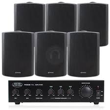 sound system for bar. 6x white water resistant restaurant bar cafe speakers + amplifier pa system 30w sound for o