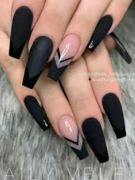 Coffin Black Nail Designs The Most Beautiful Black Winter Nails Ideas Coffin Nails