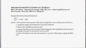 macro problem numerical example with money demand and supply find equilibrium interest rate you