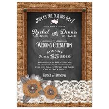 Burlap And Lace Wedding Invitations Country Wedding Invitation Burlap Chalkboard Leather Lace