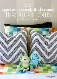 the quickest easiest and cheapest throw pillows you'll ever make