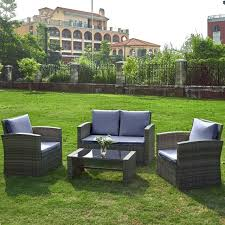 brown wicker outdoor garden patio