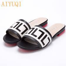 <b>AIYUQI Women's</b> Slippers 2019 New <b>summer</b> Genuine Leather Flat ...