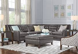 Reina Point Gray Leather 40 Pc Sectional Living Room Leather Living Stunning Leather Couch Living Room Ideas Model