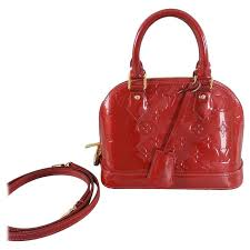 louis vuitton alma bb. louis vuitton alma bb in cherry red vernis - mini size 1 bb