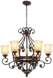 hanging chandelier dimmable lighting living room fixture glass shades 6 light
