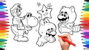 Small Picture Super Mario and Yoshi Coloring Pages for Kids How to Draw Super