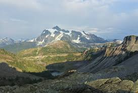 in the view from the herman saddle mount shuksan basks in day s falling light