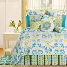 Buy Cotton Filled Quilt from Bed Bath & Beyond & Delilah Reversible Full/Queen Quilt in Blue/Yellow Adamdwight.com