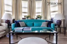 Brilliant Contemporary Living Room Furniture Turquoise Sofa And White Chairs In Decorating