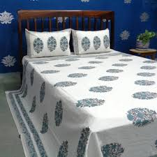 indian cotton block printed kalamkari queen size bedspread sku 8798
