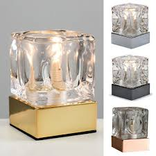 modern glass ice cube touch dimmer bedside table lamps dimmable lounge lighting