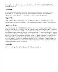 Resident Care Aide Resume Template Best Design Tips