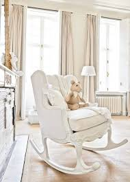 nursery rocking chair for creamy white baby with romantic shabby chic decor idea 19