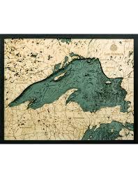 Wood Bathymetric Charts Woodcharts Lake Superior Bathymetric 3 D Wood Carved Nautical Chart