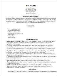 Coaching Resume Templates Professional College Football Coach Resume  Templates To Showcase
