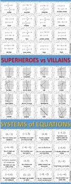solving systems of equations using any method superhero card match activity