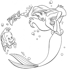 Coloring Pages Disney Princess Ariel Book Little Mermaid Drawing For