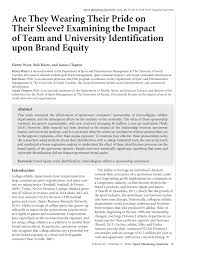 PDF) Are They Wearing Their Pride on Their Sleeve? Examining the Impact of  Team and University Identification upon Brand Equity