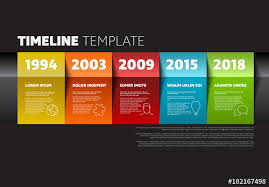 5 Section Colorful Paper Timeline Infographic On Dark Background ...