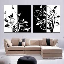 Black Iron Wall Decor Abstract Flower Painting Wall Art 2 Panel Wall Art Black And