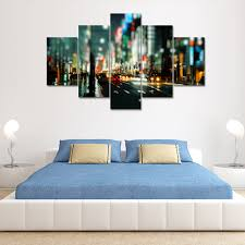 city street canvas print painting home decoration wall art picture 5pcs
