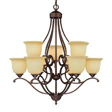 Millennium Lighting Courtney Lakes 30-in 9-Light Rubbed bronze Mediterranean  Scavo Glass Tiered