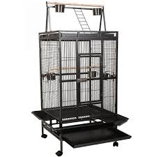 Giantex Bird Cage Large Play Top Parrot Finch Cage Macaw Cockatoo Pet  Supplies Black