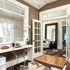 office french doors. Inspiration For A Transitional Medium Tone Wood Floor Home Office Remodel In San Francisco With Brown French Doors