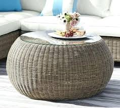 all weather wicker coffee table pouf natural large round rattan