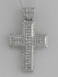 mens 18k white gold 8 00ct round square diamond cross pendant charm 2 42 31 4g