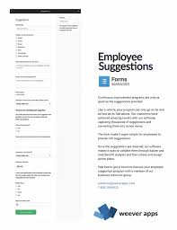 Form For Employee Employee Suggestions Form Template Weever Apps