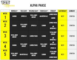 focus t25 schedule alpha phase
