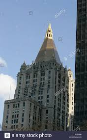 close up of the top of the new york life insurance company tower and gold roof new york city new york usa