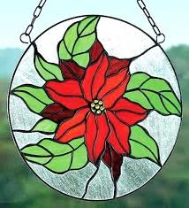 poinsettia stained glass hanging window roundel with chain hangings birds