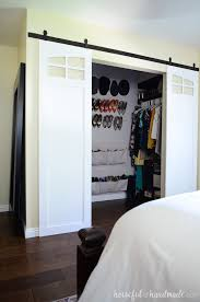 Sliding barn door for closets Mirror Closet Sliding Barn Doors Are The Perfect Way To Update Your Bedroom Replace Bifold Doors Houseful Of Handmade Closet Sliding Barn Doors Build Plans Houseful Of Handmade