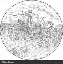 парусник черно белый парусников турбулентного морские змеи черно