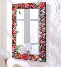 mdf rectangle wall mirror in red colour