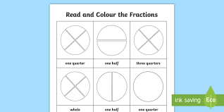 Fraction Chart Sheet Fractions Year 1 Read And Colour Worksheet Teacher Made