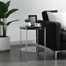 black marble top glass shelf chrome legs round side table